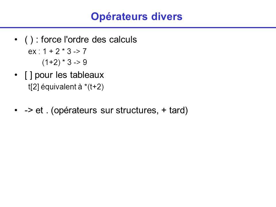 Opérateurs divers ( ) : force l ordre des calculs