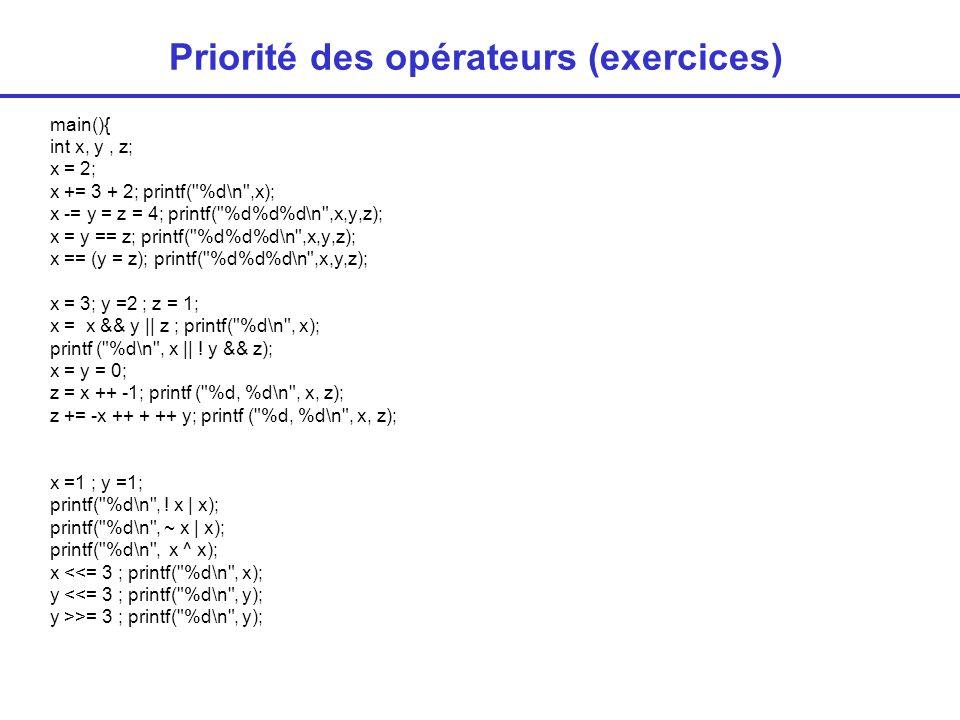 Priorité des opérateurs (exercices)