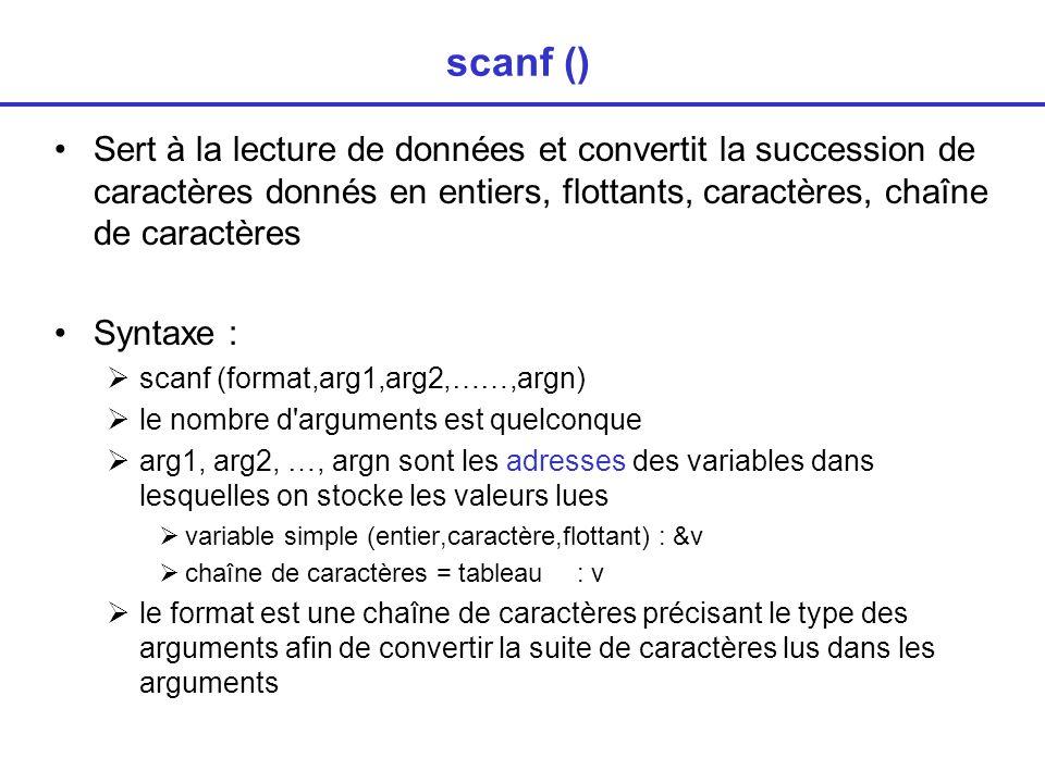 scanf () Sert à la lecture de données et convertit la succession de caractères donnés en entiers, flottants, caractères, chaîne de caractères.