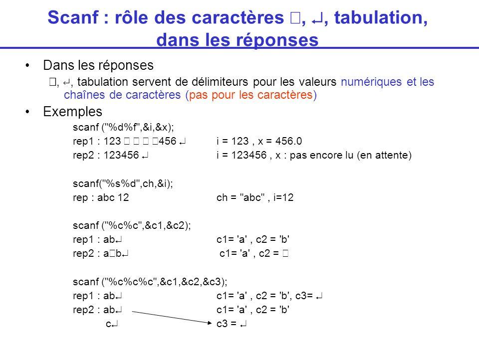 Scanf : rôle des caractères , , tabulation, dans les réponses