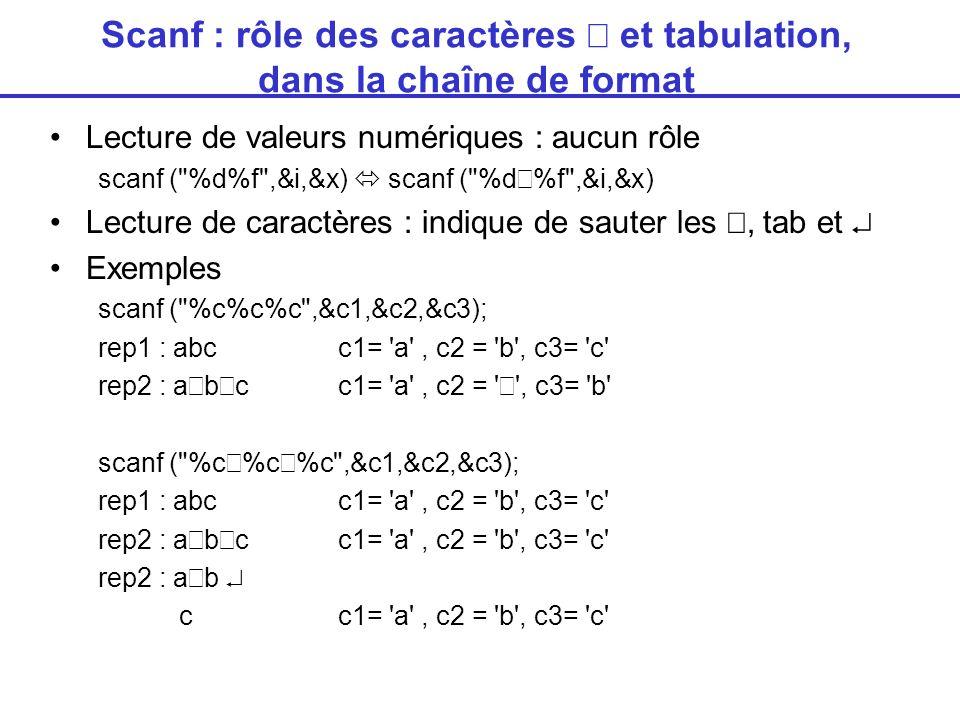 Scanf : rôle des caractères  et tabulation, dans la chaîne de format