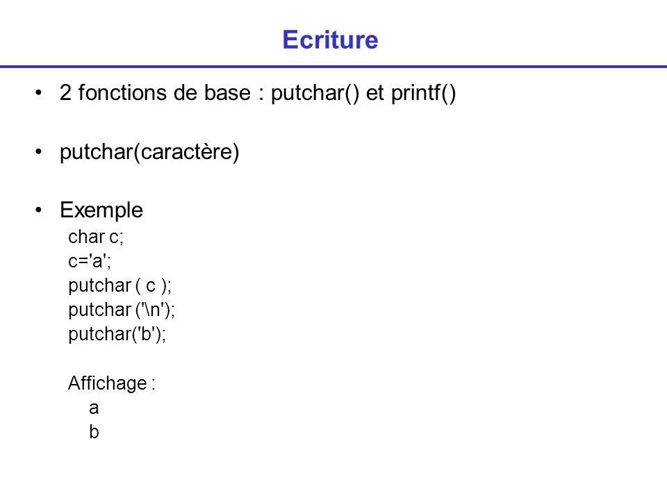 Ecriture 2 fonctions de base : putchar() et printf()