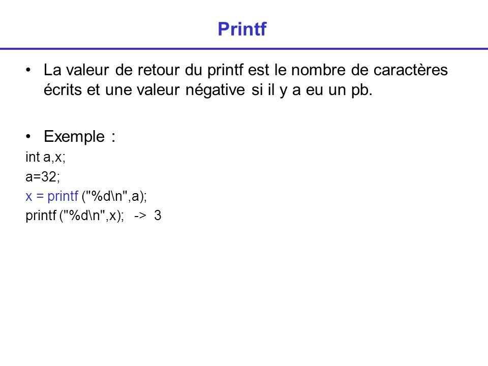 Printf La valeur de retour du printf est le nombre de caractères écrits et une valeur négative si il y a eu un pb.