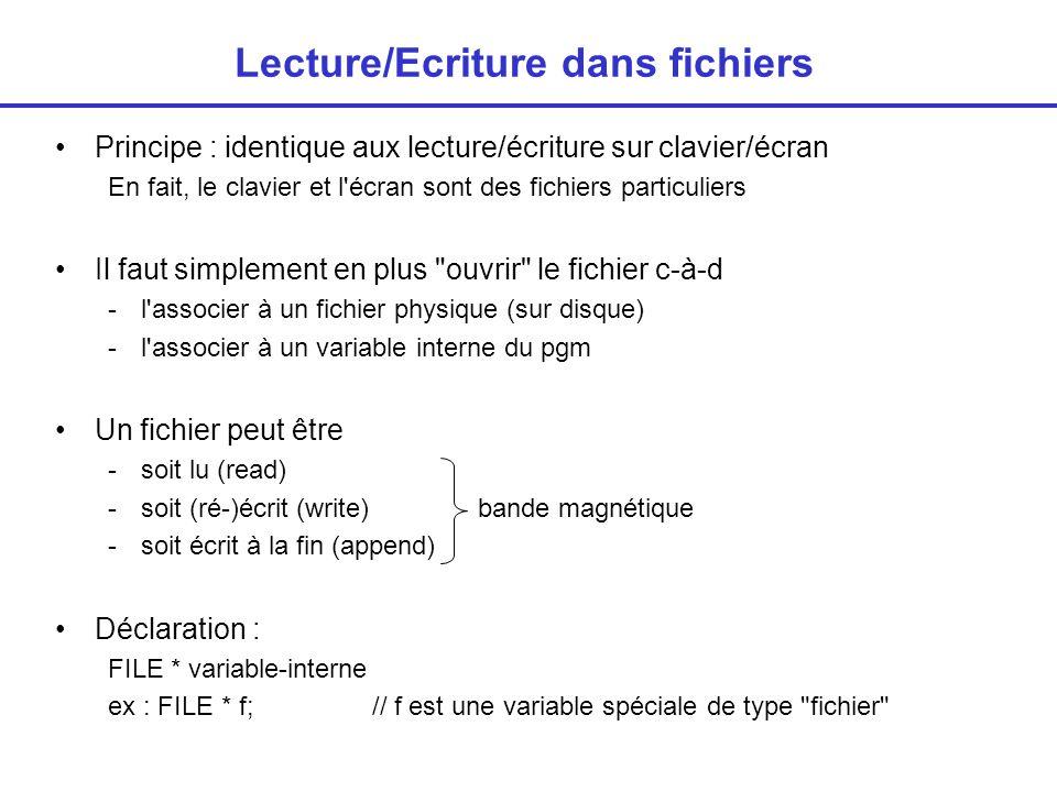 Lecture/Ecriture dans fichiers