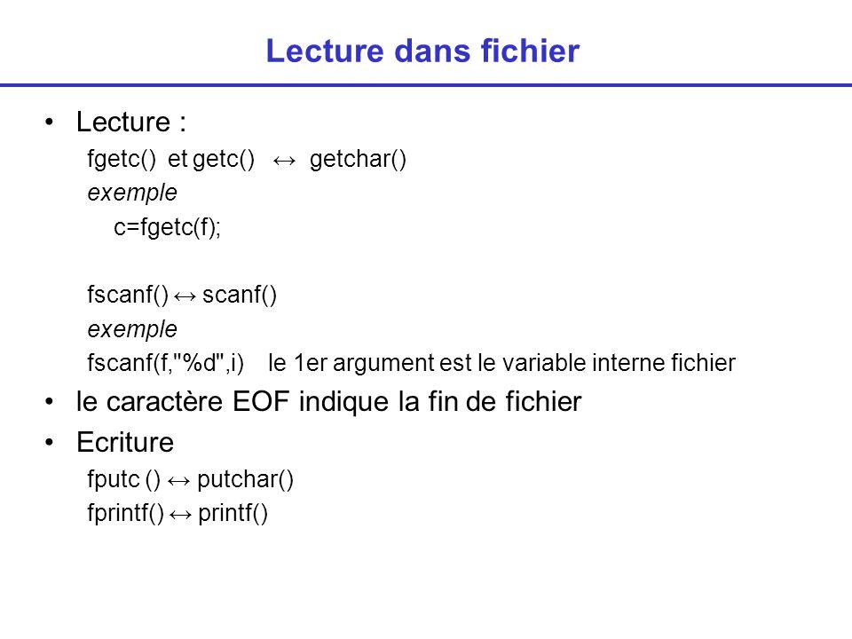 Lecture dans fichier Lecture :