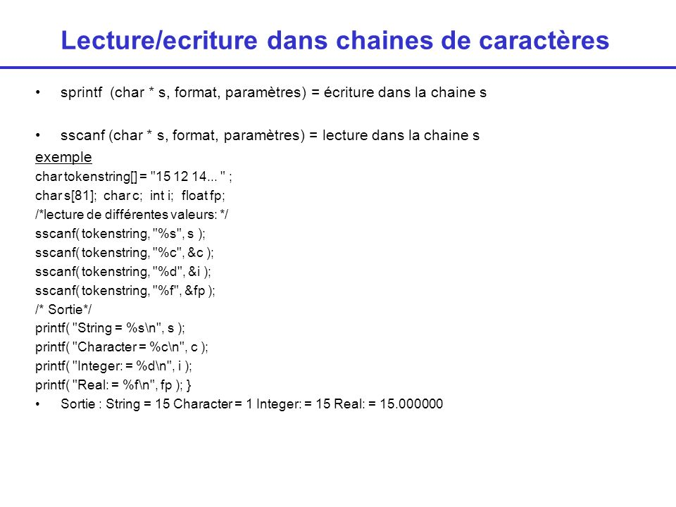 Lecture/ecriture dans chaines de caractères