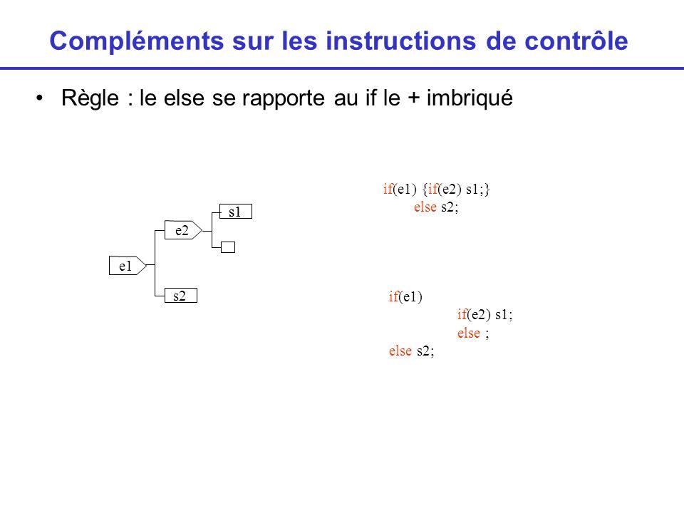 Compléments sur les instructions de contrôle