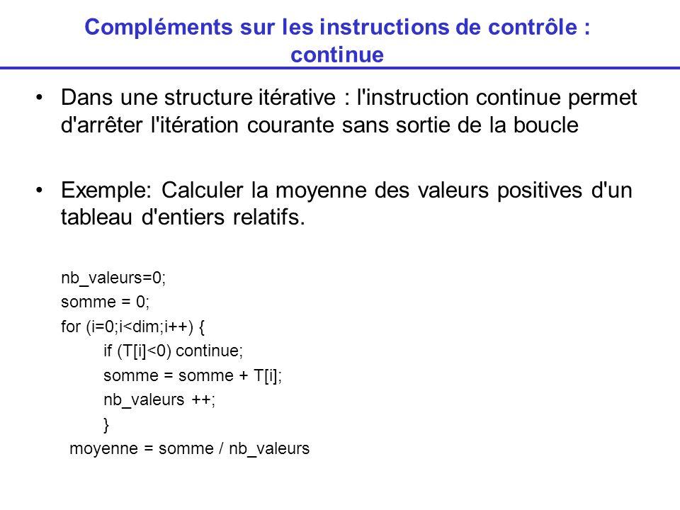 Compléments sur les instructions de contrôle : continue