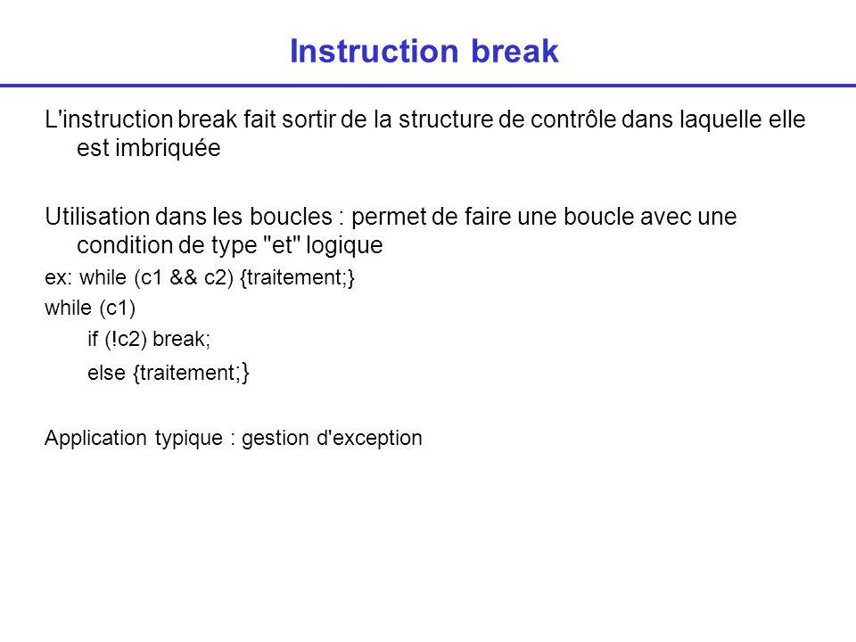 Instruction break L instruction break fait sortir de la structure de contrôle dans laquelle elle est imbriquée.