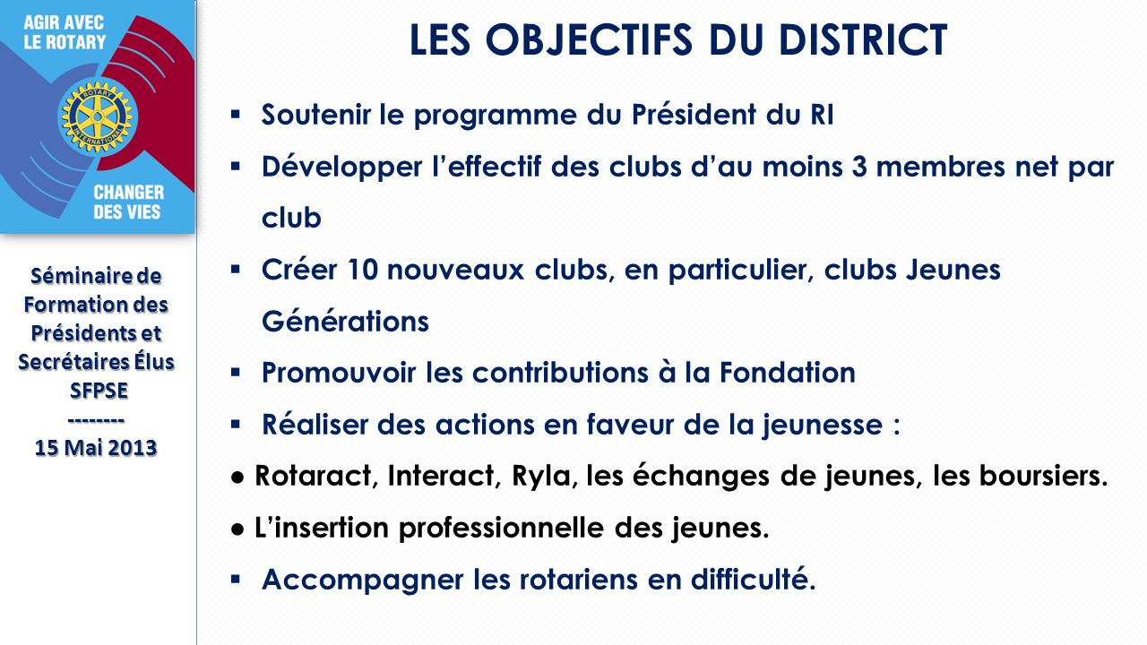 LES OBJECTIFS DU DISTRICT