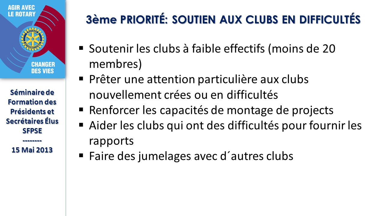 3ème PRIORITÉ: SOUTIEN AUX CLUBS EN DIFFICULTÉS