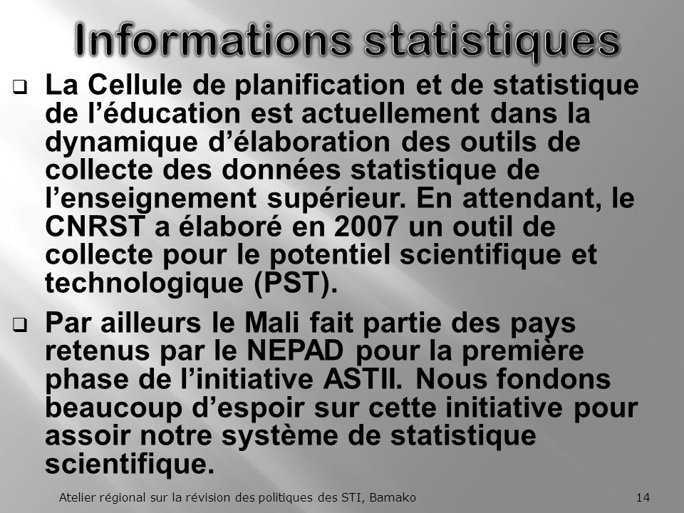 Informations statistiques