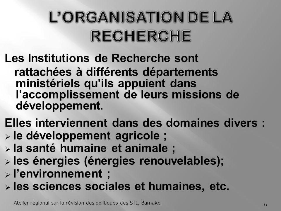 L'ORGANISATION DE LA RECHERCHE