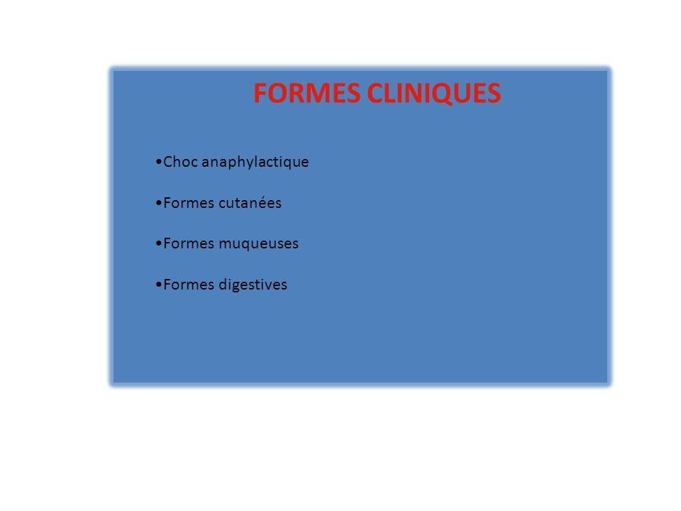 FORMES CLINIQUES Choc anaphylactique Formes cutanées Formes muqueuses