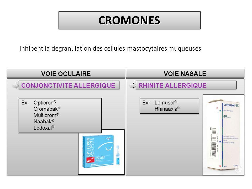 CROMONES Inhibent la dégranulation des cellules mastocytaires muqueuses. VOIE OCULAIRE. CONJONCTIVITE ALLERGIQUE.