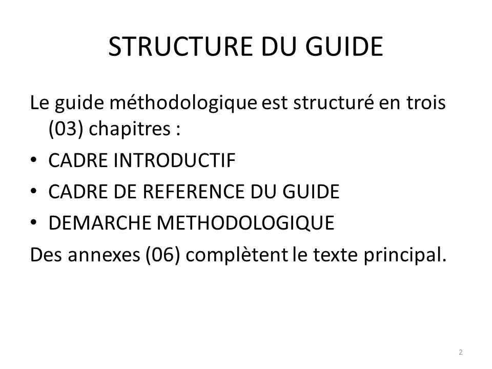 STRUCTURE DU GUIDE Le guide méthodologique est structuré en trois (03) chapitres : CADRE INTRODUCTIF.