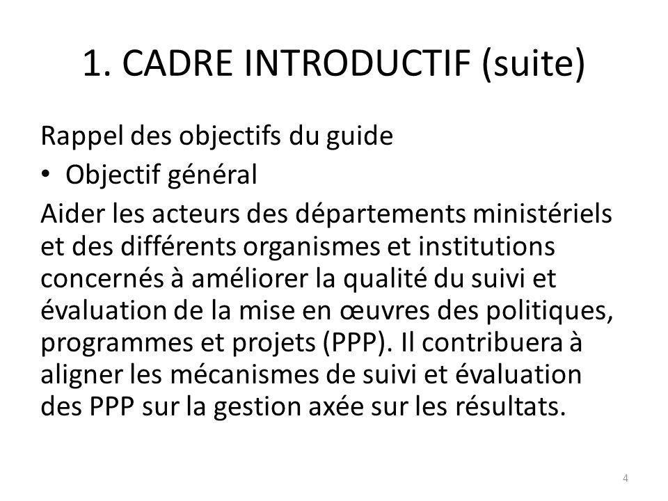1. CADRE INTRODUCTIF (suite)