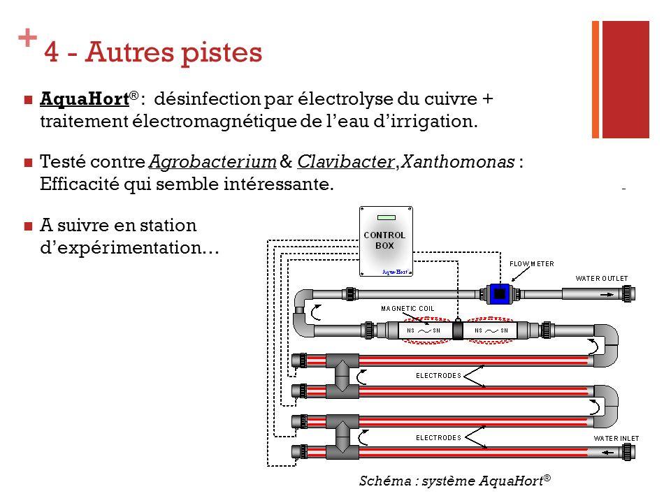 4 - Autres pistes AquaHort® : désinfection par électrolyse du cuivre + traitement électromagnétique de l'eau d'irrigation.