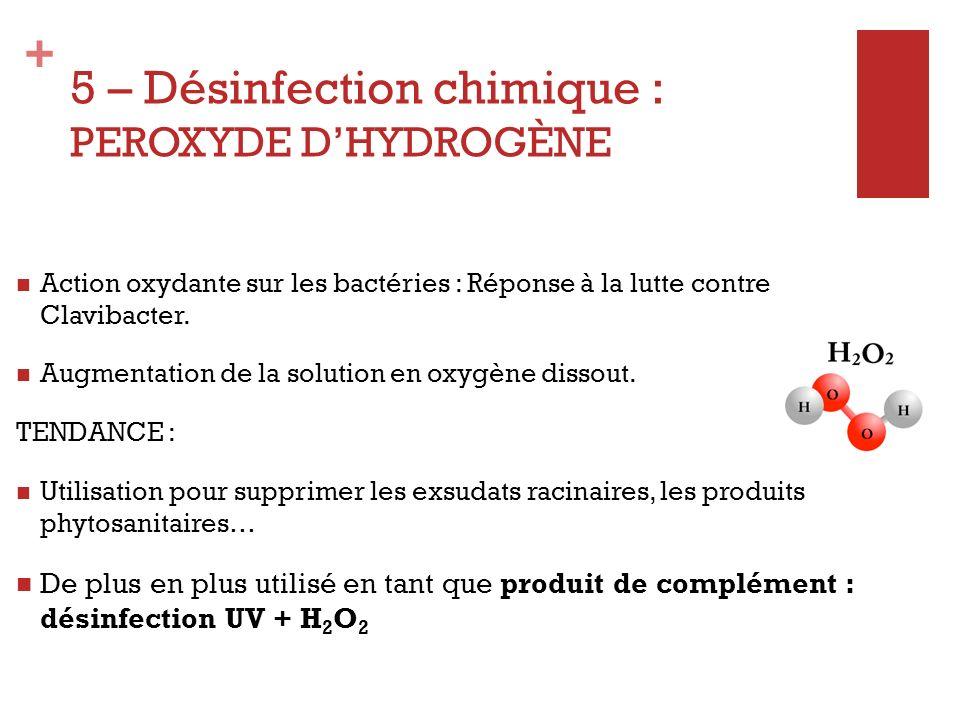 5 – Désinfection chimique : PEROXYDE D'HYDROGÈNE