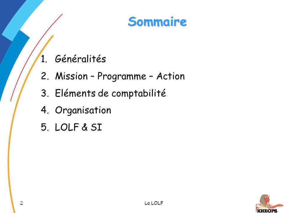 Sommaire Généralités Mission – Programme – Action