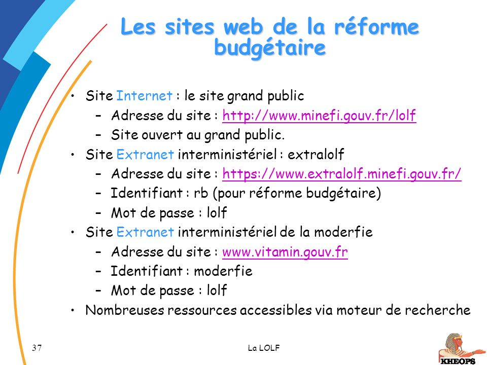 Les sites web de la réforme budgétaire