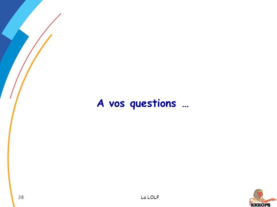 A vos questions … La LOLF CETIAD - Novembre 2005