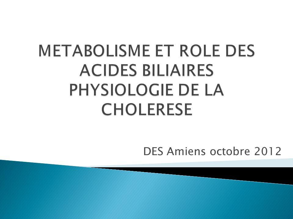 METABOLISME ET ROLE DES ACIDES BILIAIRES PHYSIOLOGIE DE LA CHOLERESE