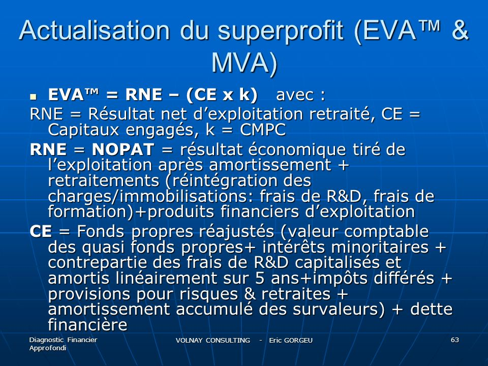 Actualisation du superprofit (EVA™ & MVA)