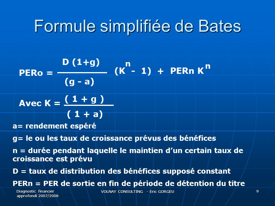 Formule simplifiée de Bates