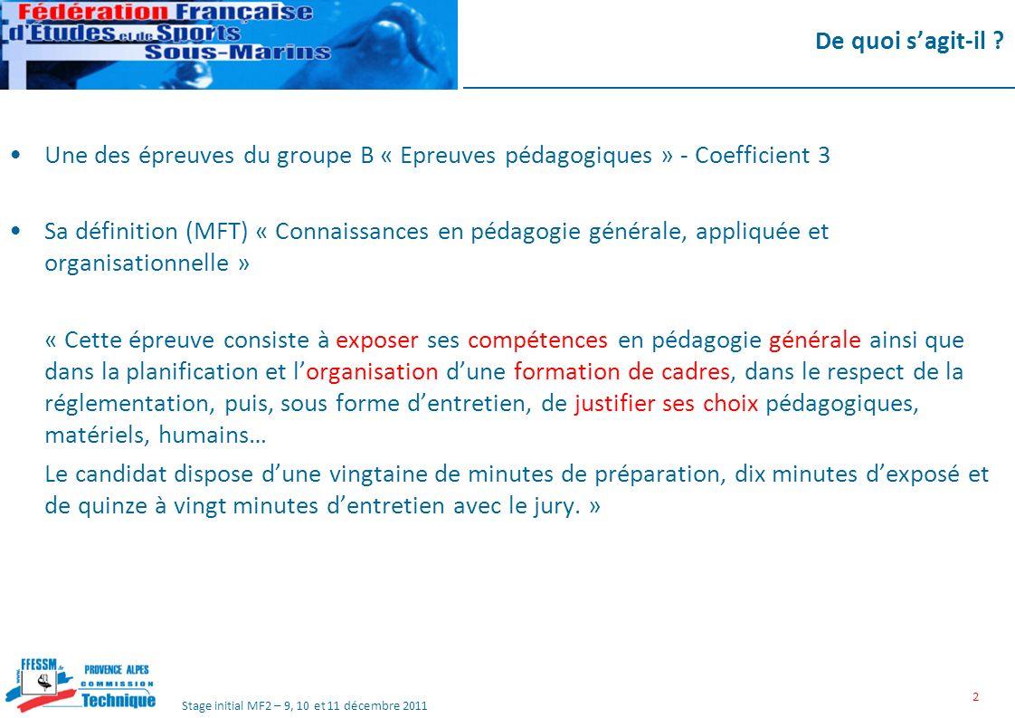 De quoi s'agit-il Une des épreuves du groupe B « Epreuves pédagogiques » - Coefficient 3.