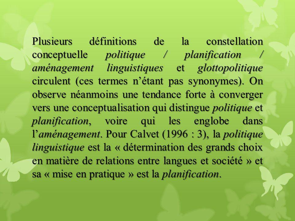 Plusieurs définitions de la constellation conceptuelle politique / planification / aménagement linguistiques et glottopolitique circulent (ces termes n'étant pas synonymes).