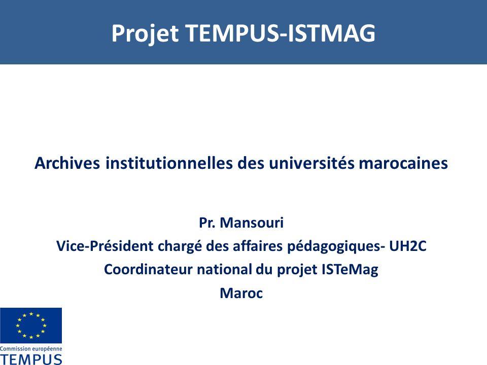 Projet TEMPUS-ISTMAG Archives institutionnelles des universités marocaines. Pr. Mansouri. Vice-Président chargé des affaires pédagogiques- UH2C.
