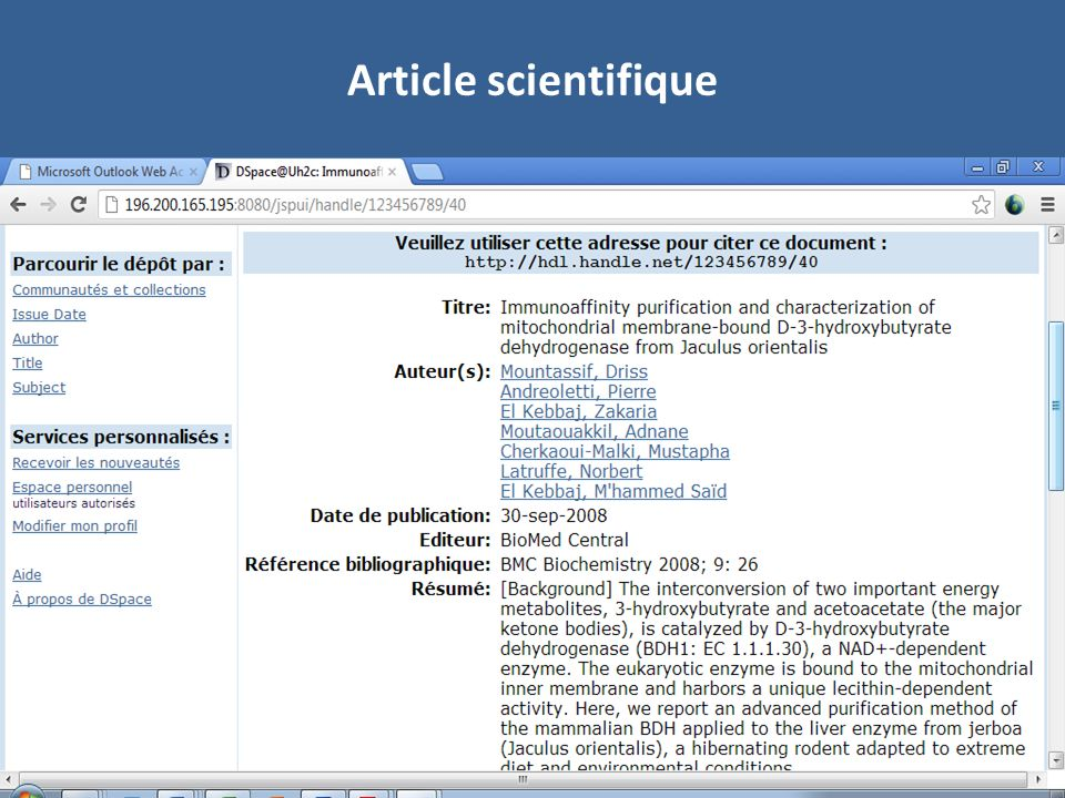 Article scientifique Exemple d'article scientifique