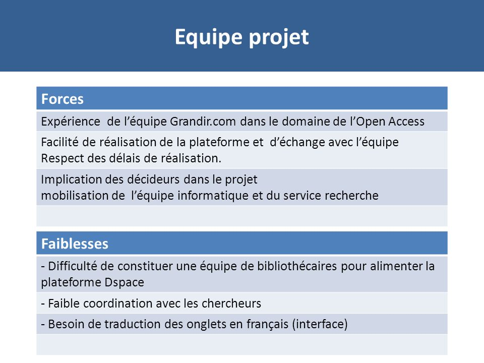Equipe projet Forces Faiblesses