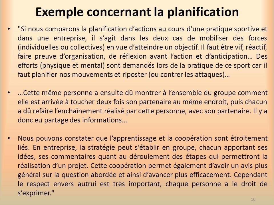 Exemple concernant la planification
