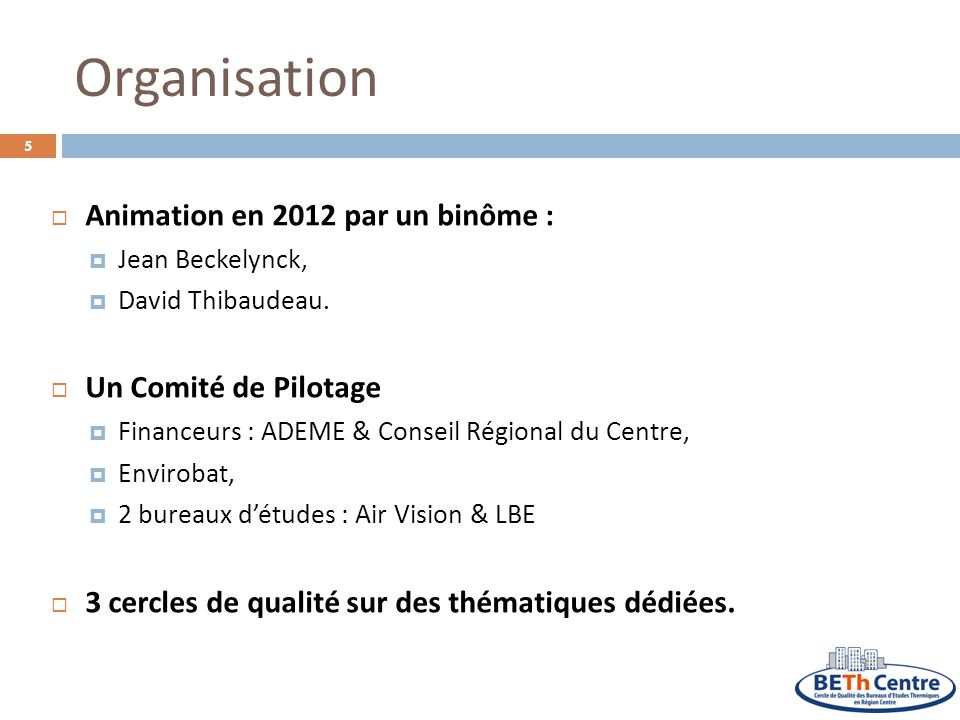 Organisation Animation en 2012 par un binôme : Un Comité de Pilotage