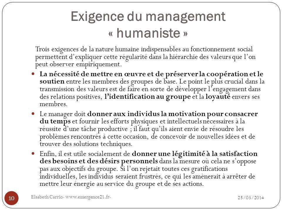 Exigence du management « humaniste »