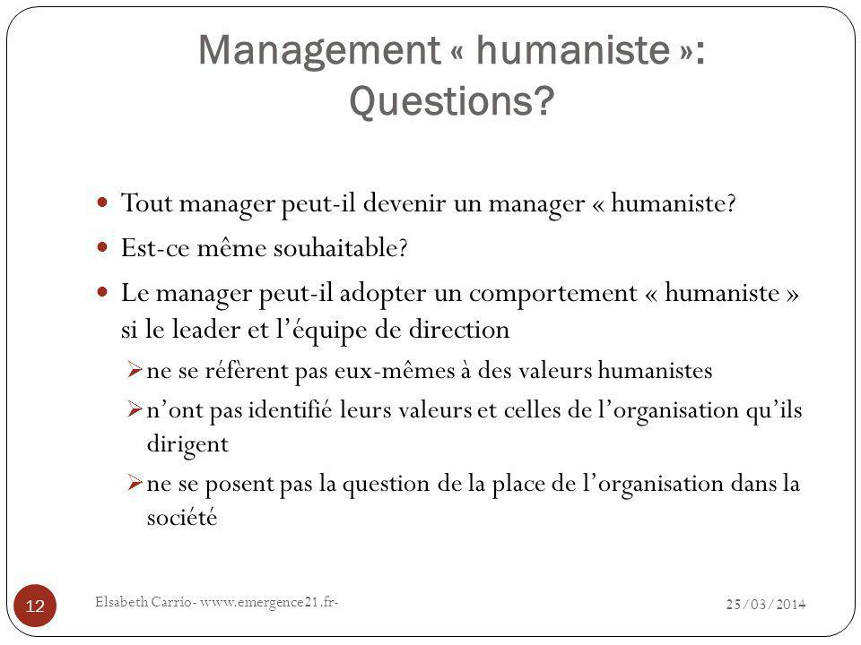 Management « humaniste »: Questions