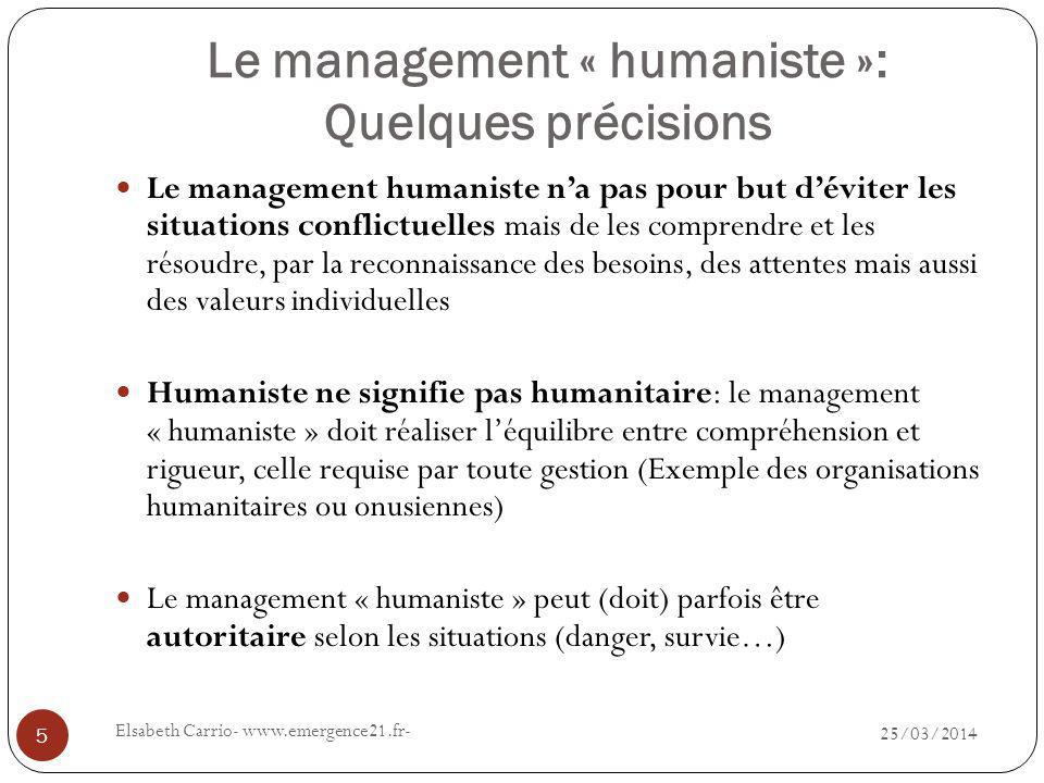Le management « humaniste »: Quelques précisions