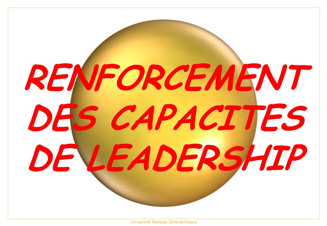 RENFORCEMENTDES CAPACITES DE LEADERSHIP