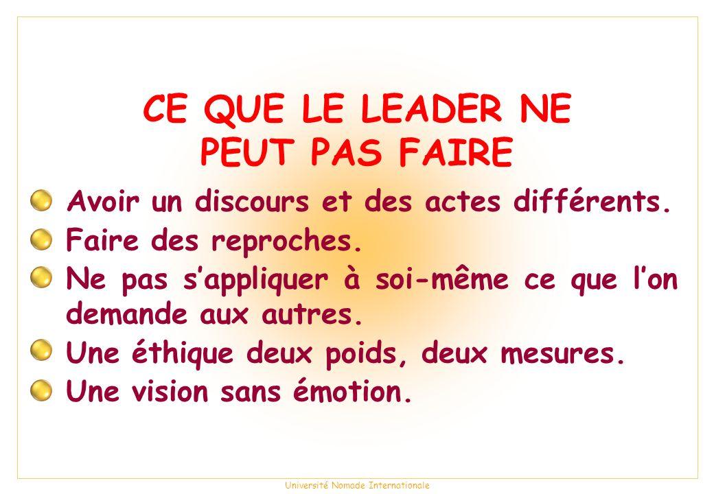 CE QUE LE LEADER NE PEUT PAS FAIRE