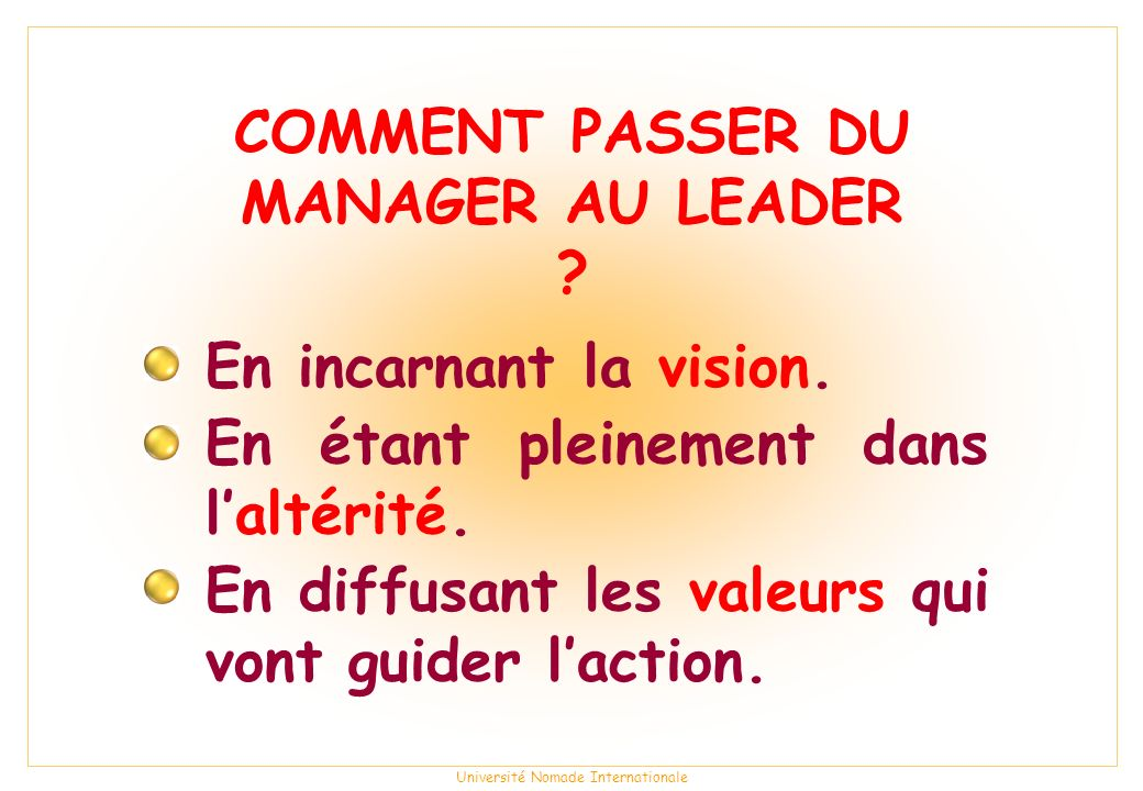 COMMENT PASSER DU MANAGER AU LEADER