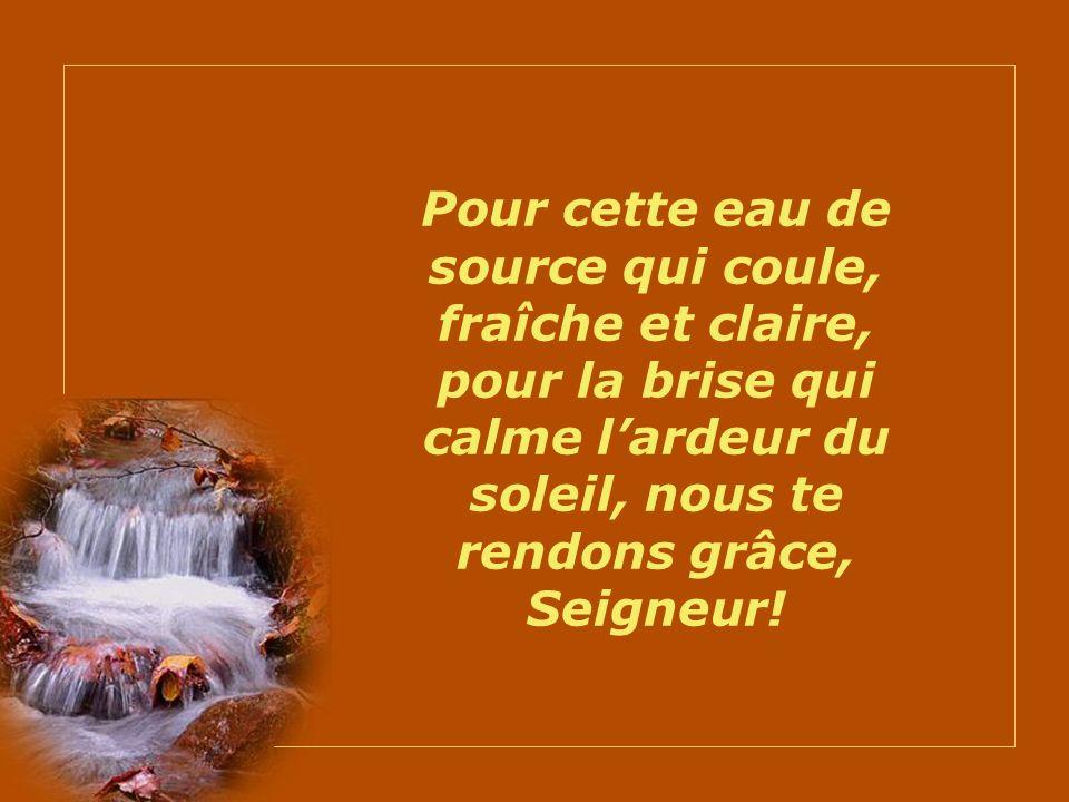 Pour cette eau de source qui coule, fraîche et claire, pour la brise qui calme l'ardeur du soleil, nous te rendons grâce, Seigneur!