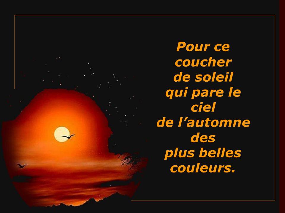 Pour ce coucher de soleil qui pare le ciel de l'automne des plus belles couleurs.