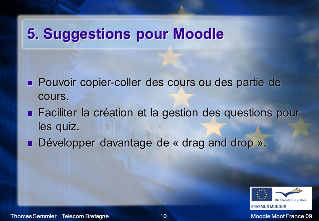 5. Suggestions pour Moodle