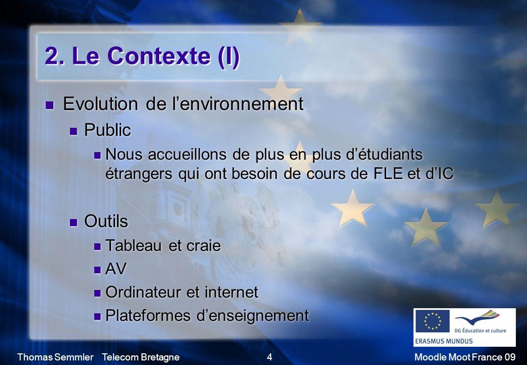 2. Le Contexte (I) Evolution de l'environnement Public Outils
