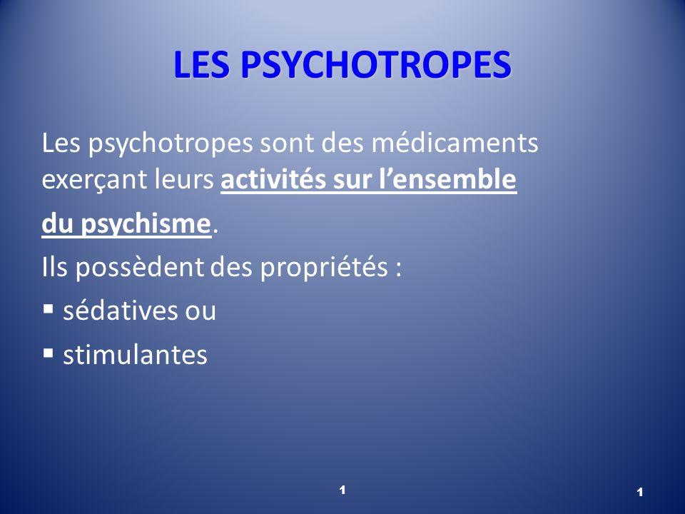 LES PSYCHOTROPES Les psychotropes sont des médicaments exerçant leurs activités sur l'ensemble. du psychisme.