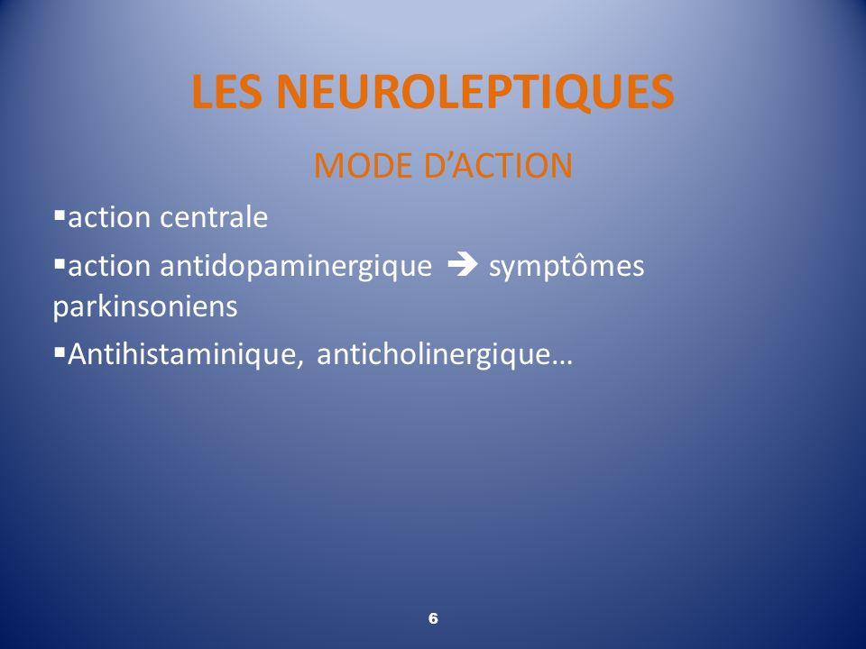 LES NEUROLEPTIQUES MODE D'ACTION action centrale