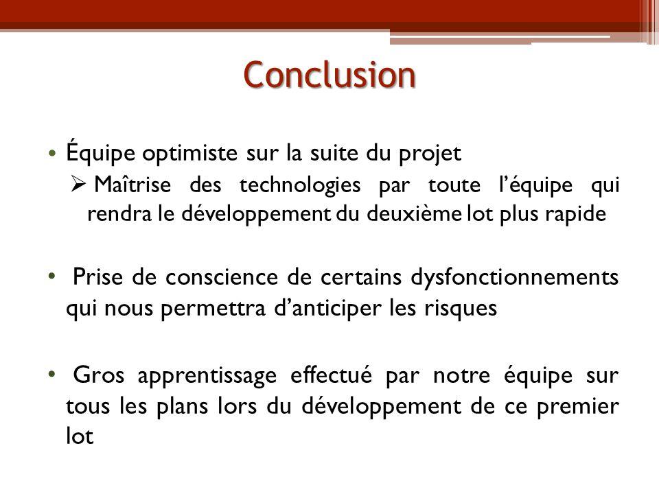 Conclusion Équipe optimiste sur la suite du projet