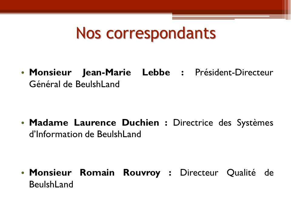 Nos correspondants Monsieur Jean-Marie Lebbe : Président-Directeur Général de BeulshLand.